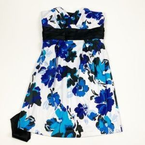 Trixxi Strapless Floral Printed Fit & Flare Dress